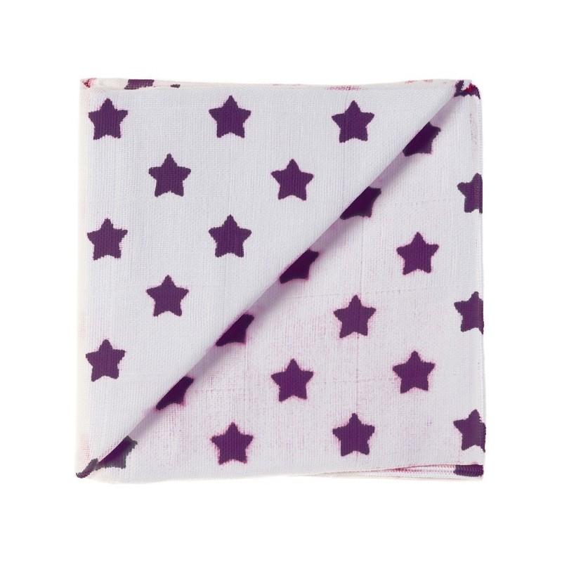 Zewi Baby Gaze Noschi bedruckt Sterne weiss-pflaume 17