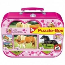 Schmidt Spiele Puzzle Pferde im Metallkoffer 2 x 26 Teile und 2 x 48 Teile