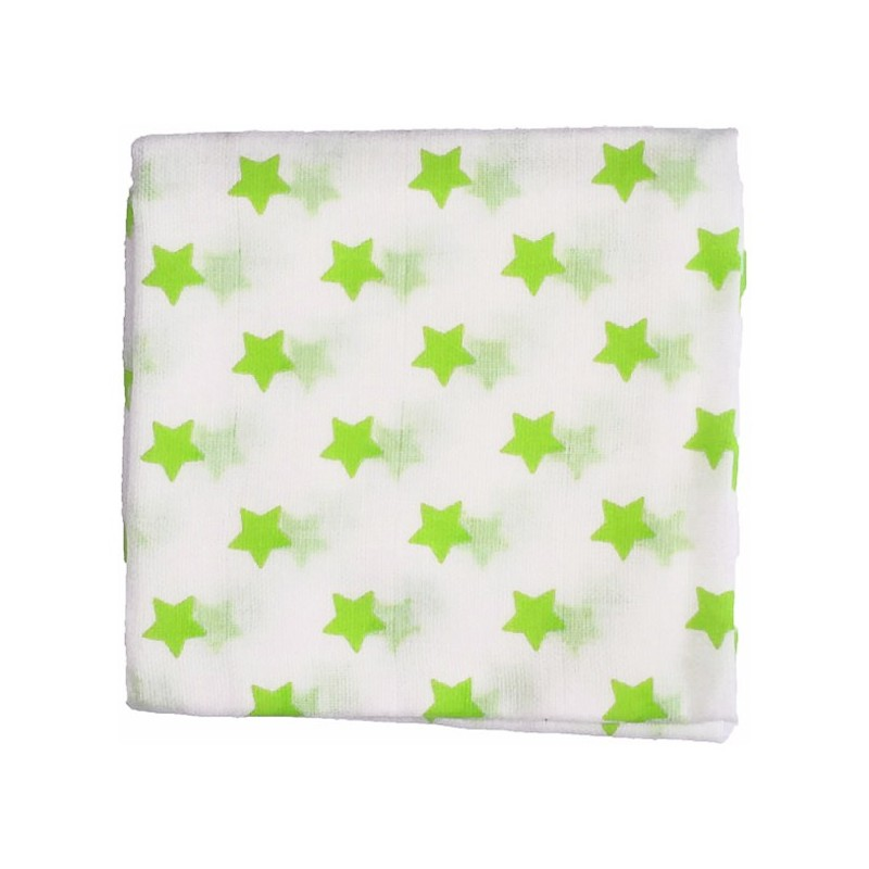 Zewi Baby Gaze Noschi bedruckt Sterne weiss-limone 55