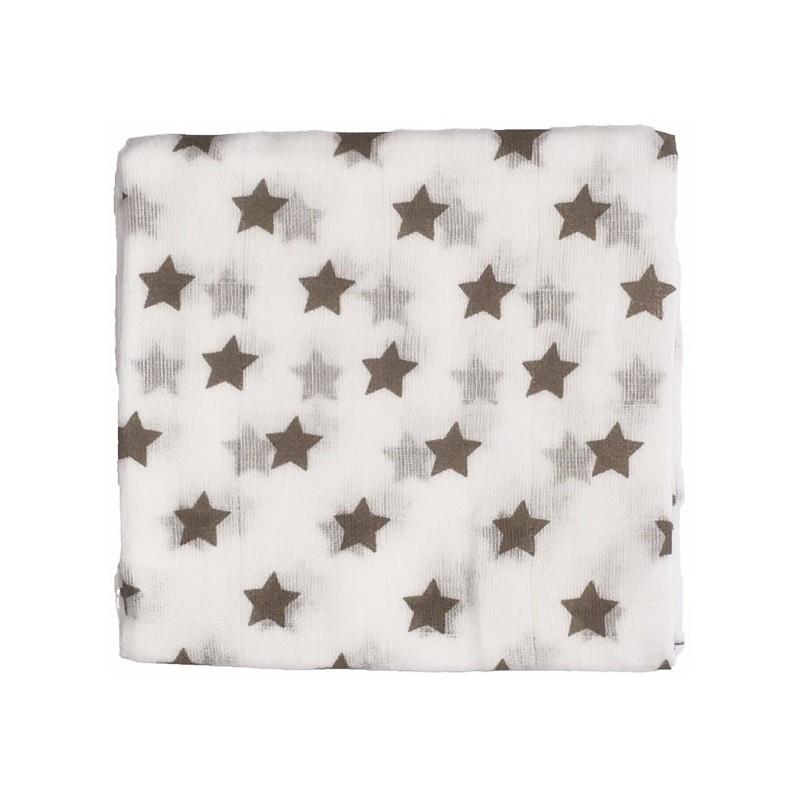 Zewi Baby Gaze Noschi bedruckt Sterne weiss-schlamm 07