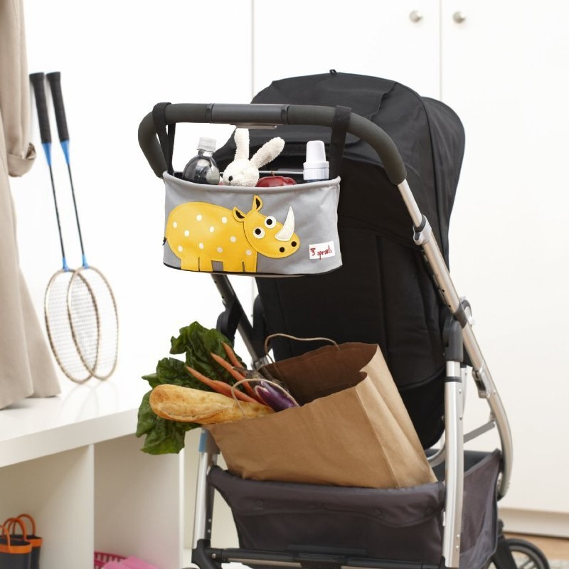 3 Sprouts Stossertasche Kinderwagen-Organizer Rhinozeros