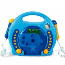 Karaoke CD Player MP3 2 Mikros boy-blau mit Sticker-Set 701480