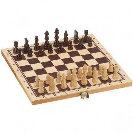 Schach Dame und Backgammon Kassette aus Holz