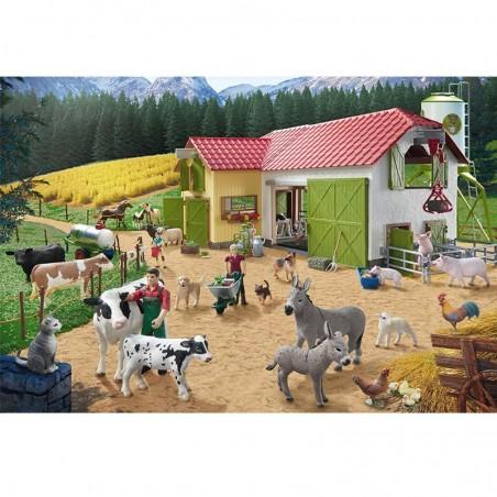 Schmidt Spiele Puzzle Ein Tag auf dem Bauernhof 40 Teile mit 2 Schleich Figuren