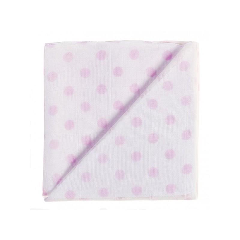 Zewi Baby Gaze Noschi bedruckt Punkte weiss-rosa 78