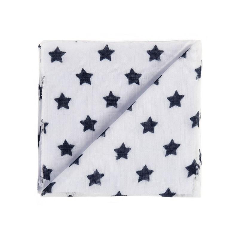 Zewi Baby Gaze Noschi bedruckt Sterne weiss-schwarz 20