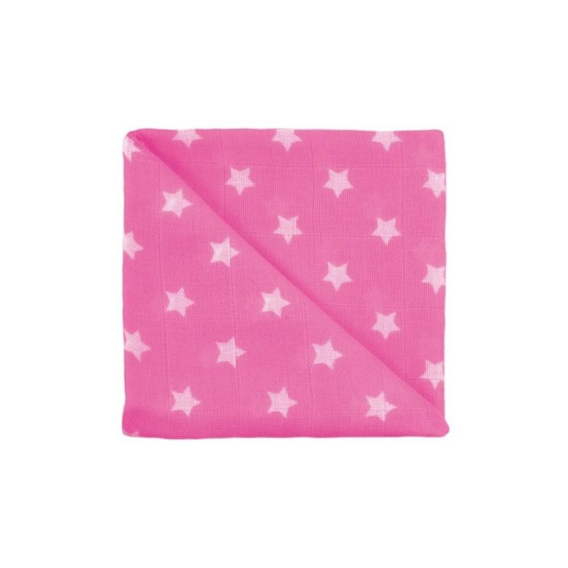 Zewi Baby Gaze Noschi bedruckt Sterne pink 74