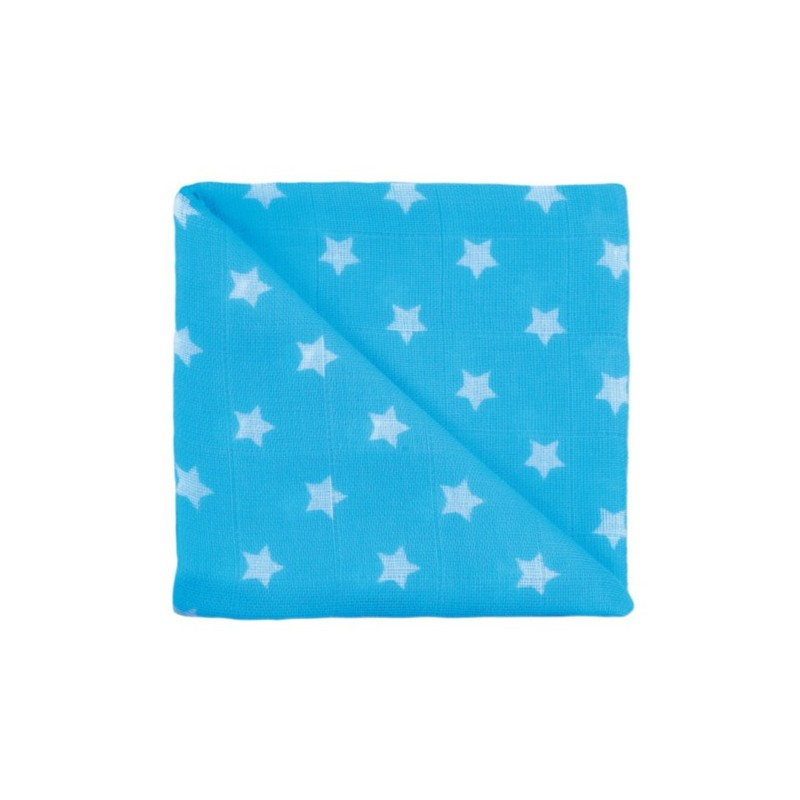 Zewi Baby Gaze Noschi bedruckt Sterne türkis 26