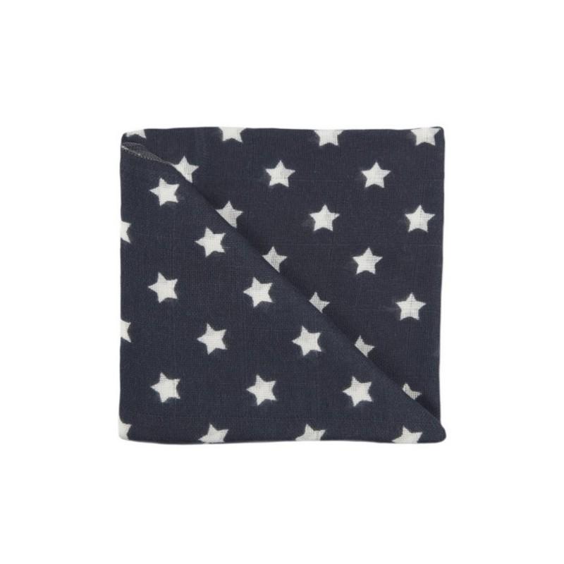 Zewi Baby Gaze Noschi bedruckt Sterne anthrazit 03