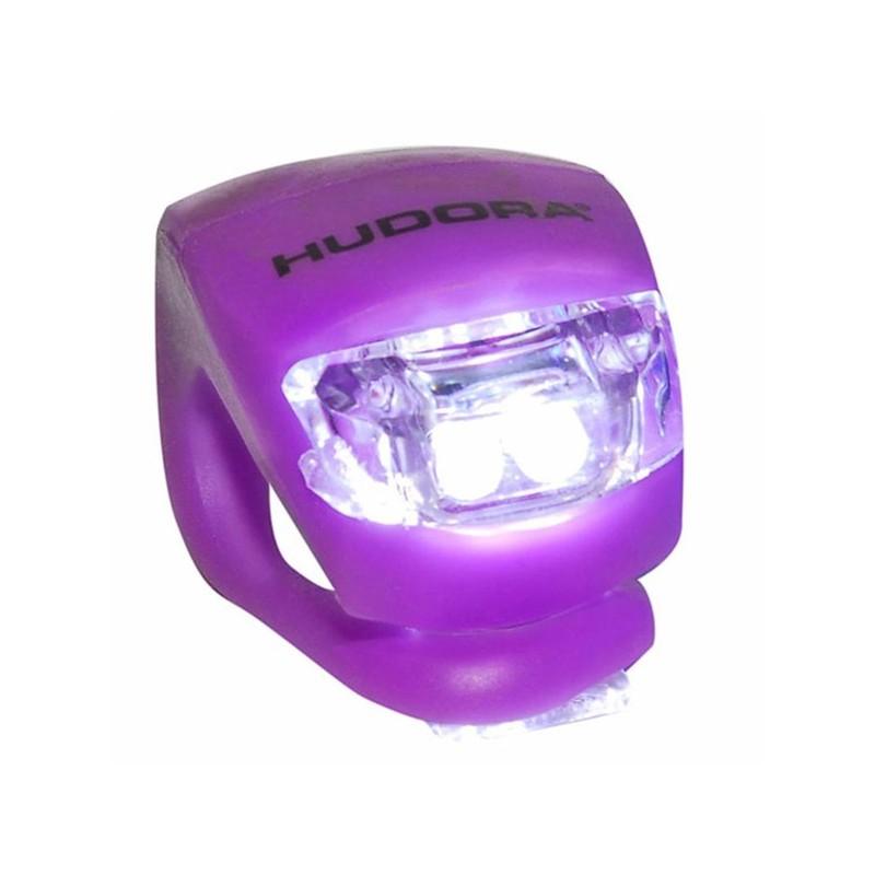 Hudora LED Lampe Velolampe Scooterlampe für Fahrrad und Scooter Lenker lila