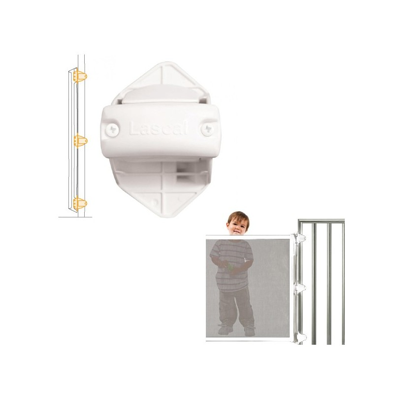 Lascal Kiddy Guard avant Rohrhalterungs-Set Rohrhalterung weiss für Verschlussleiste (Schliessseite ) 3 Stk.