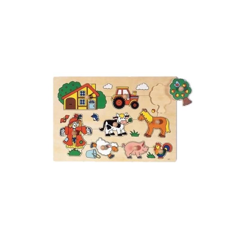 GOKI Puzzle Holzpuzzle Bauernhof GP1 9 Teile