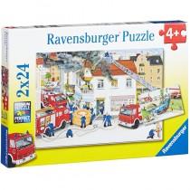 Ravensburger Puzzle Bei der Feuerwehr 2 x 24 Teile
