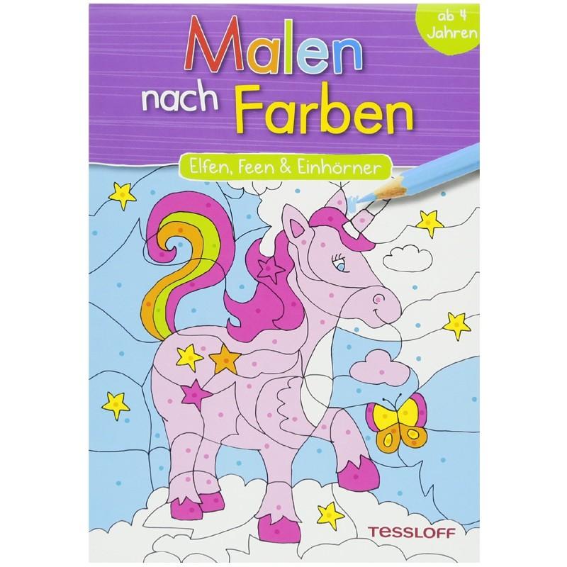 malen nach farben elfen feen einhörner malbuch  bei www