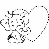 Elephant with Heart Wandtattoo