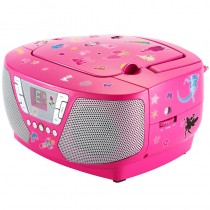 Bigben Tragbarer CD Player Radio Kids pink mit 400 Stickers