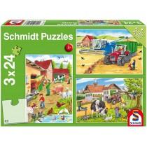 Schmidt Spiele Kinderpuzzle Auf dem Bauernhof 3x24 Teile