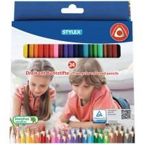 Stylex 24 lange dreikant Buntstifte aus FSC-Holz