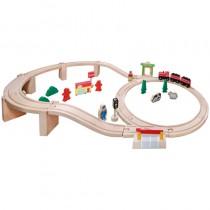 SpielMaus Holzeisenbahn-Set 38-teilig