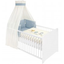Julius Zöllner Bett-Set mit Applikation 100x135 cm Organic Bluebird Blau