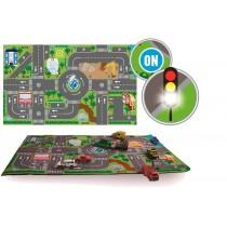 Spielteppich mit Strassen und LED 72x120cm
