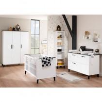 Kinderzimmer Eliana inkl. Schrank 3 Türen, Kinderbett und Kommode breit mit Wickelaufsatz