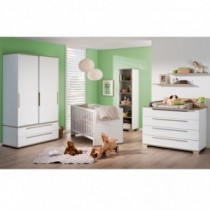 Paidi Kinderzimmer Carlo inkl. Schrank 2-türig 2 Schubladen schmal, Kinderbett und Kommode mit Wickelaufsatz