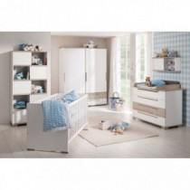 Paidi Kinderzimmer Carlo inkl. Schrank 2-türig 2 Schubladen breit, Kinderbett und Kommode mit Wickelaufsatz