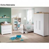 Paidi Kinderzimmer Kira inkl. Schrank 3-türig, Kinderbett und Kommode schmal mit Wickelaufsatz