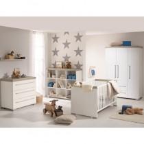 Paidi Kinderzimmer Kira inkl. Schrank 3 Türen 2 Schubladen, Kinderbett und Kommode schmal mit Wickelaufsatz
