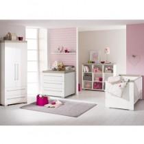 Paidi Kinderzimmer Kira inkl. Schrank 2 Türen 2 Schubladen, Kinderbett und Kommode breit mit Wickelaufsatz