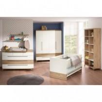 Paidi Kinderzimmer Remo inkl. Schrank 4-türig 2 Schubladen, Kinderbett und Kommode breit mit Wickelaufsatz