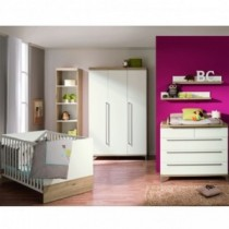 Paidi Kinderzimmer Remo inkl. Kinderbett und Wickelkommode schmal mit Wickelaufsatz