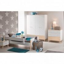 Paidi Kinderzimmer Ylvie inkl. Schrank 4-türig, Kinderbett und Kommode breit mit Wickelaufsatz