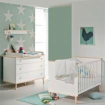 Paidi Kinderzimmer Ylvie inkl. Kinderbett und Wickelkommode breit mit Wickelaufsatz