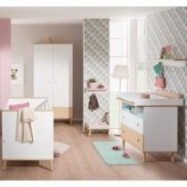 Paidi Kinderzimmer Ylvie inkl. Kinderbett und Wickelkommode schmal offen mit Wickelaufsatz