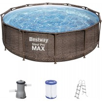 Bestway Steel Pro Max Frame Pool Komplett-Set rund, mit Filterpumpe & Sicherheitsle 366 x 100 cm