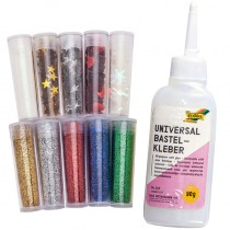Folia Glitter-Set 10 Dosen Dekomaterial und 1 Kleber